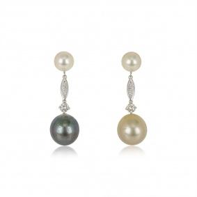 18k White Gold Diamond Pearl Drop Earrings